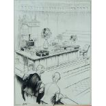 Joseph Lee, British 1901-1974- London Laughs: Parliament Reassembling; black felt tip pen on