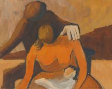 British School, early-mid 20th century- Two crouching figures; oil on card, signed 'Robert' and