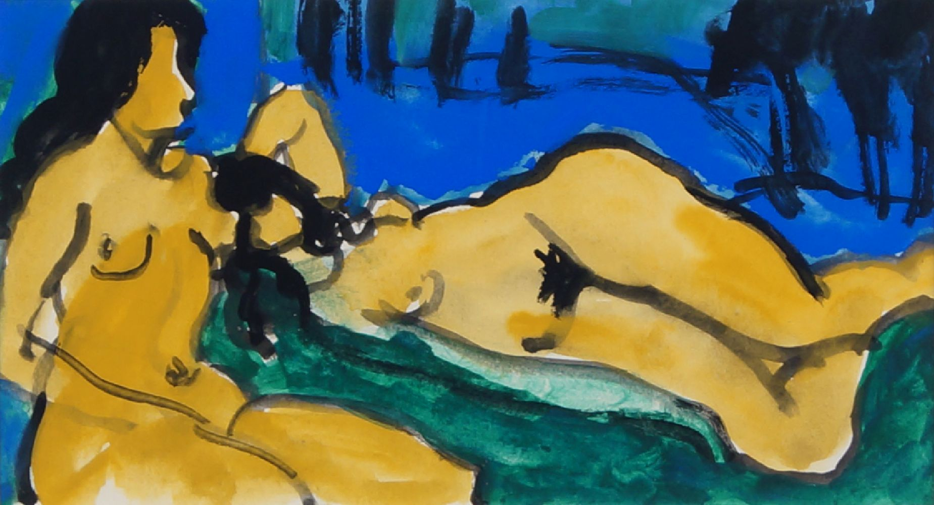 Fyffe Christie, British 1918-1979- Study for two figures in a landscape; watercolour, 10x18cm: