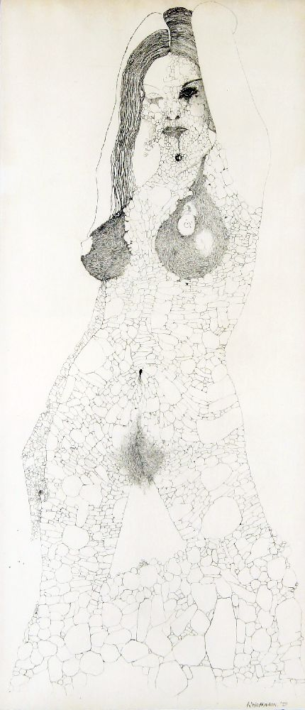 P J Hopkinson, British School, mid/late 20th century- Nude woman; pencil, signed and dated '73, 61.