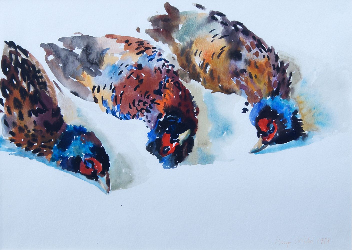 Lucy Willis RWA, British b. 1954- Study of pheasants; watercolour, signed and dated 1988, 27x37.