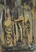British Neo-Romantic School, c.1940s-1950s- Two standing draped figures; brush and black ink and