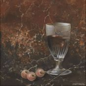 Pierre Jean Couarraze, French b.1944- Trois Cerises; oil on canvas, signed, signed and titled to the