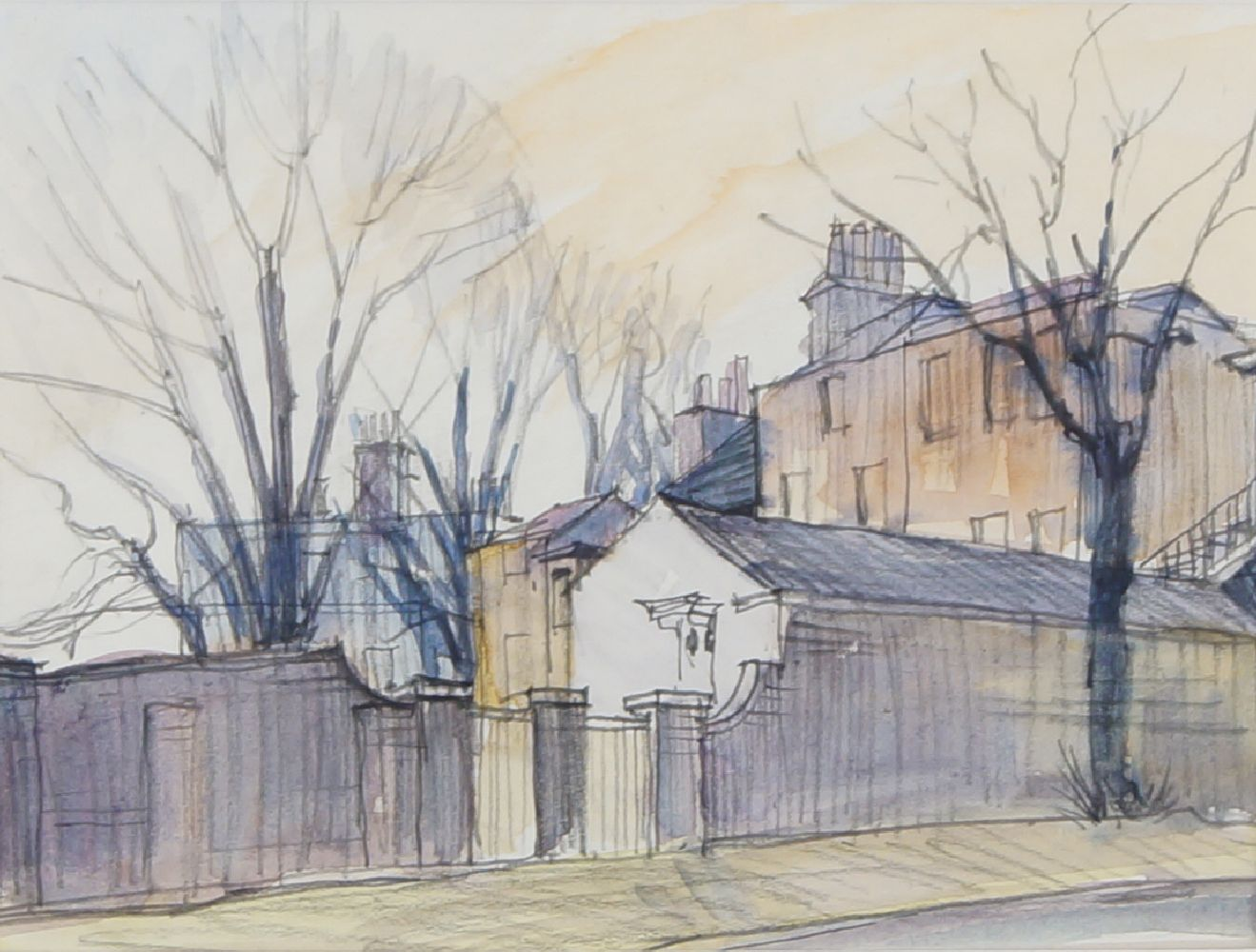Fyffe Christie, British, 1918-1979- Millhouse, Blackheath Sunset; watercolour, signed and dated - Image 2 of 3