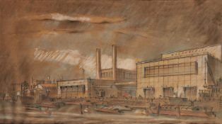 British School, mid 20th century- A Preliminary study of the new Cannery; pastel and pencil on