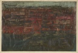 John Bailey, British b.1926- Glacier Rock Outcrop, 1957; mixed technique oil on paper, signed,