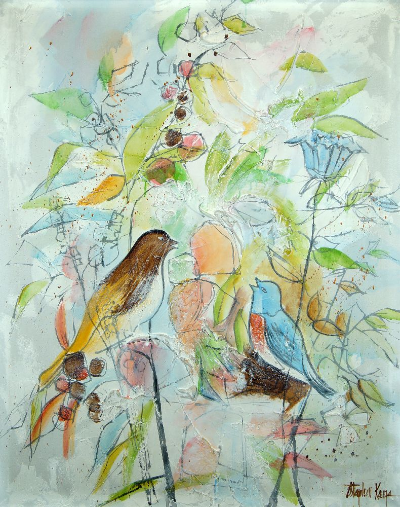 British School, early 21st century- Birds amongst flowers; oil on canvas, signed, 126x100cm: - Image 2 of 2