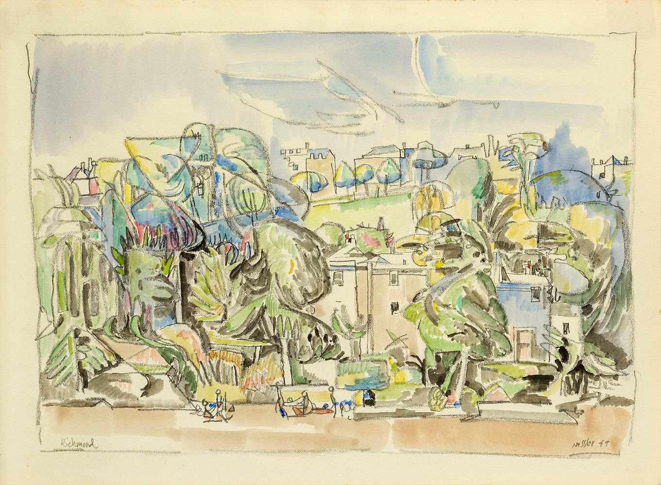 Walter Nessler, German/British 1912-2001- Richmond, 1949; watercolour and pencil, signed, titled and - Image 2 of 3