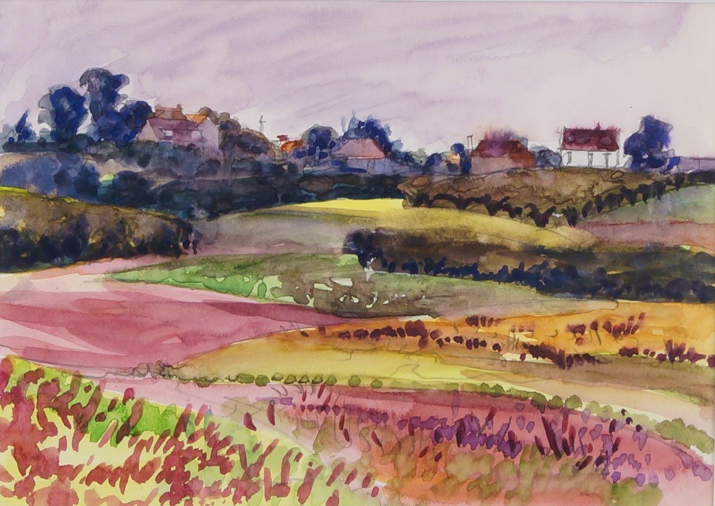 Fyffe Christie, British 1918-1979- Village and pink fields, Kent; watercolour, 15x20.5cm: together
