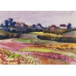 Fyffe Christie, British 1918-1979- Village and pink fields, Kent; watercolour, 15x20.5cm: together