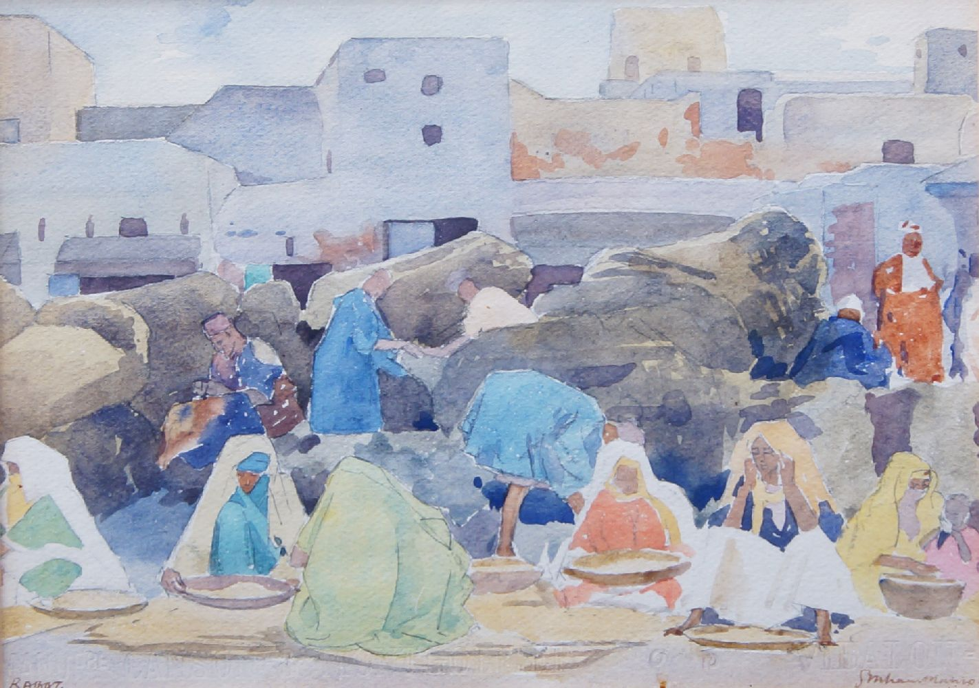 Alexander Graham Munro RSW, Scottish 1903-1985- Rabat, 1927; watercolour and pencil, signed and