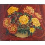 John Duguid, British 1906-1961- Chrysanthemums in a Vase; oil on canvas, bears inscription on the