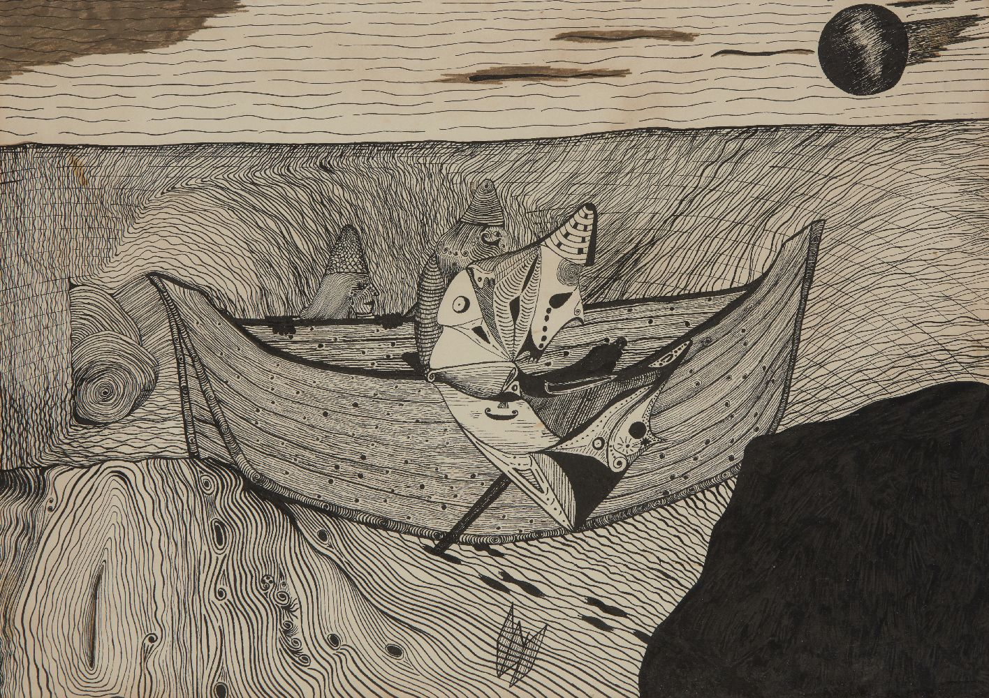 Surrealist School, mid-20th century- Figures in a boat; pen and black ink and felt tip pen,