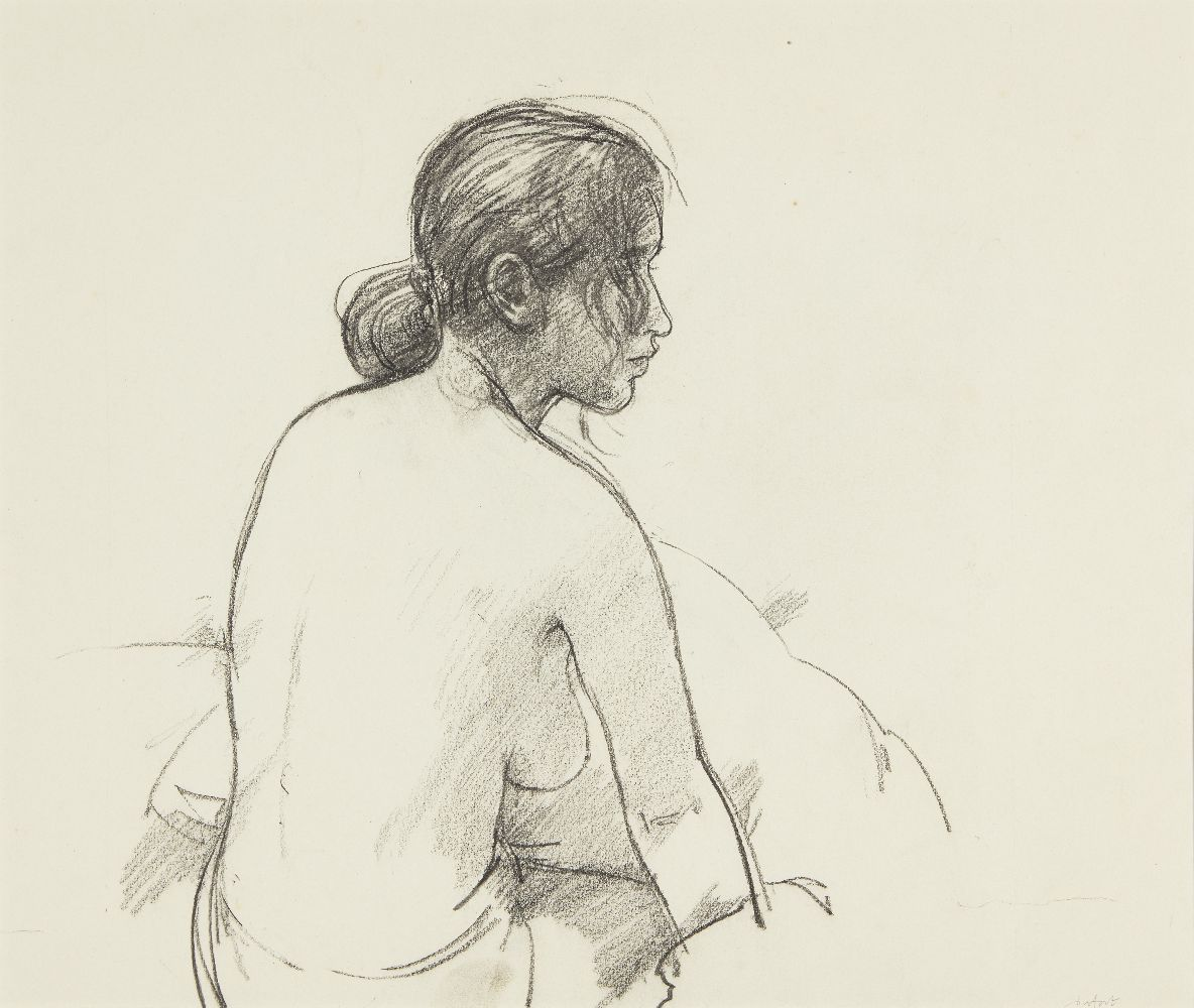 Antony Dufort, British b.1948- Ange with one foot on the bath; pencil, signed, bears inscription - Image 2 of 2