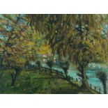 Welby Arthur Skinner, British School, early 20th century- Riverside scene; oil on canvas, signed and