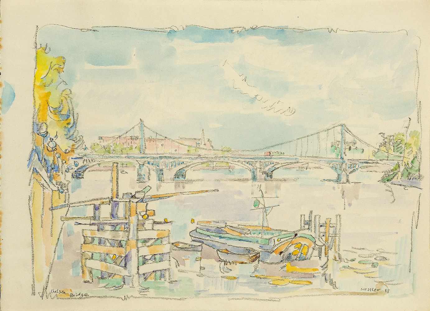 Walter Nessler, German/British 1912-2001- Richmond, 1949; watercolour and pencil, signed, titled and - Image 3 of 3