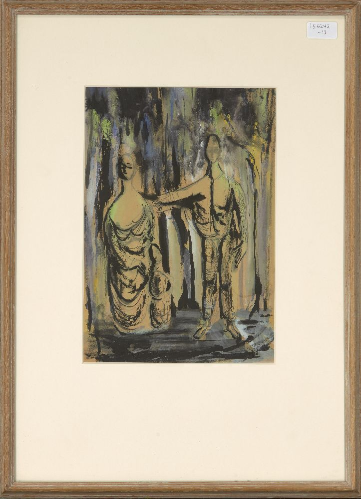 British Neo-Romantic School, c.1940s-1950s- Two standing draped figures; brush and black ink and - Image 2 of 2