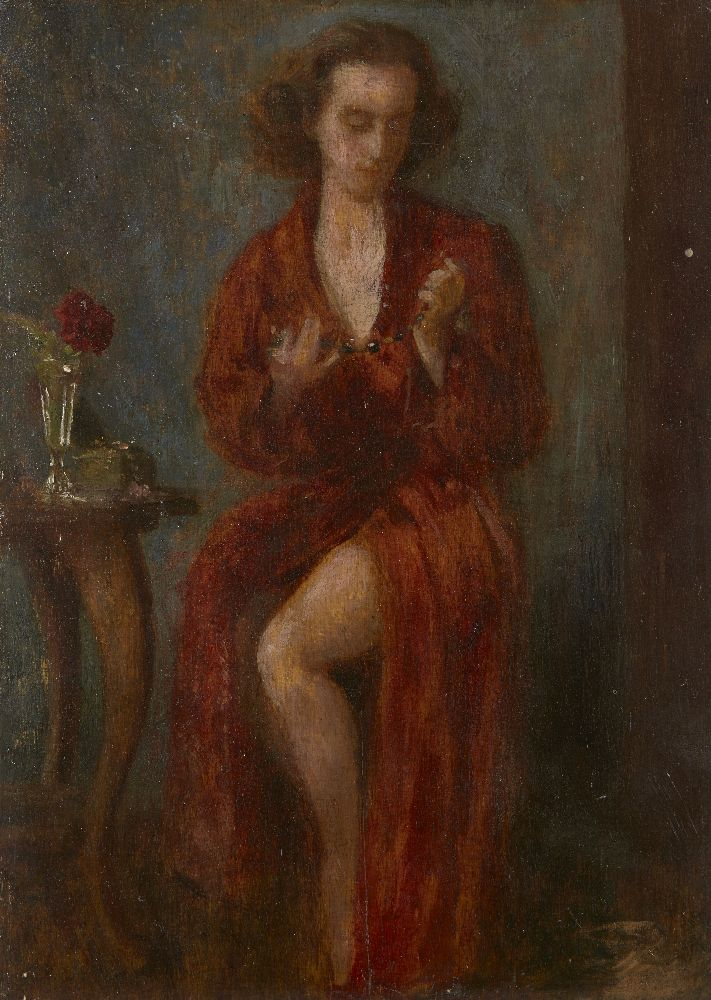 British School, early-mid 20th century- Portrait of a woman standing full-length in an interior; oil
