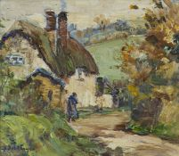Berthe Des Clayes, British/Canadian 1890-1968- Country Lane; oil on canvas laid down on board,