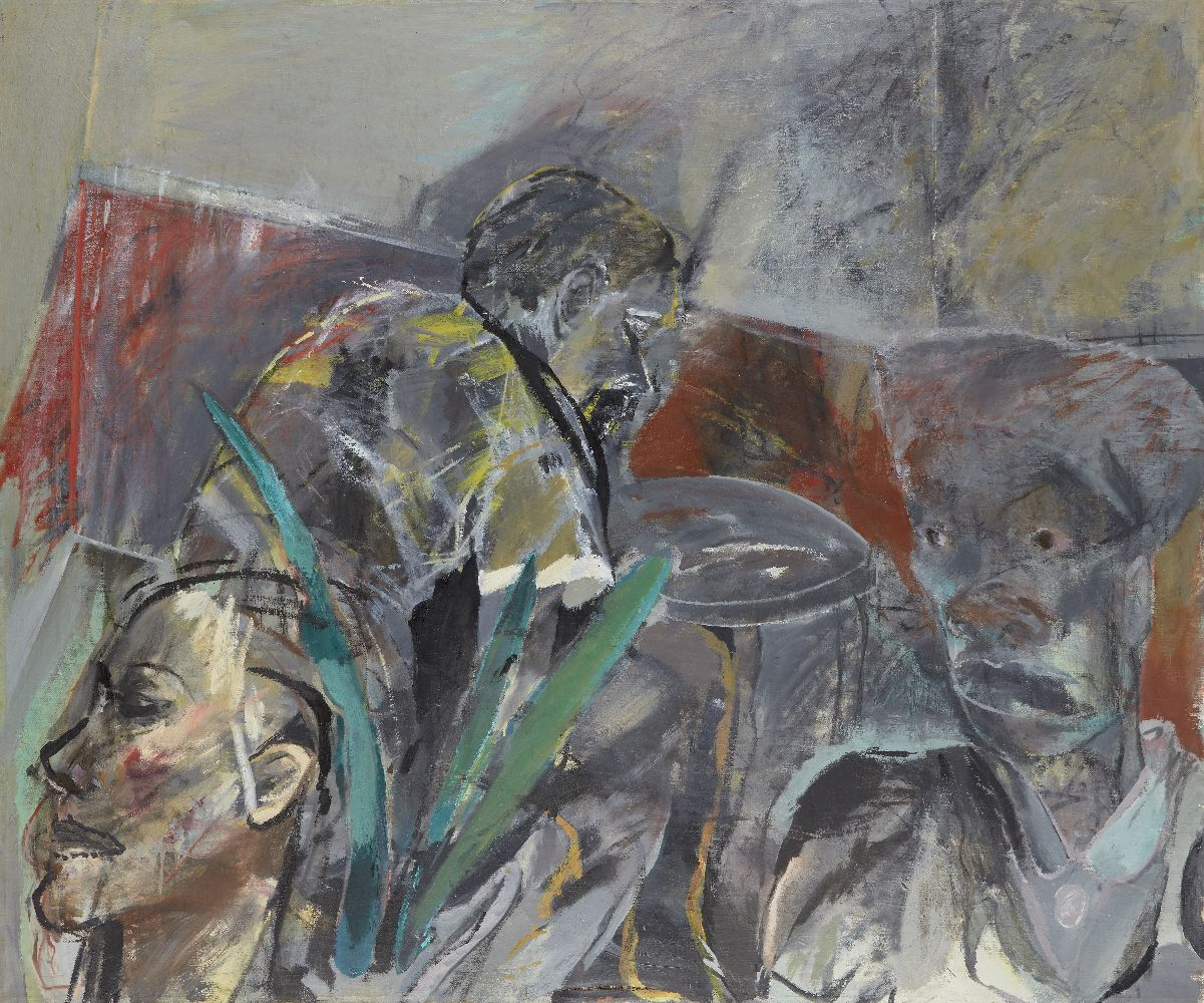 Anne Sassoon, British/South African b.1943- Untitled (grey heads), 1990/1; oil on canvas, bears