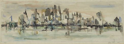 John Uht, American 1924-2010- New York skyline; watercolour, signed, titled and dated 1966,