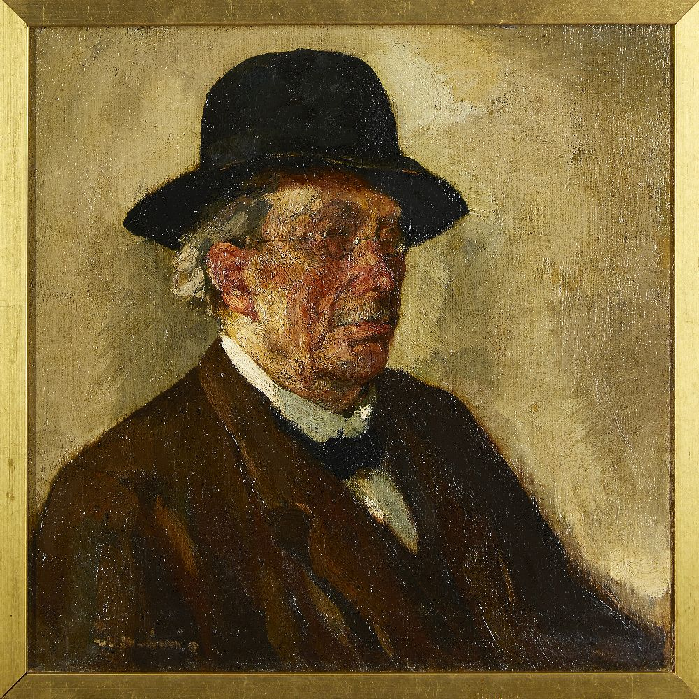 Scandinavian/American School, early 20th century- Portrait of a man; oil on canvas, signed, - Image 2 of 3