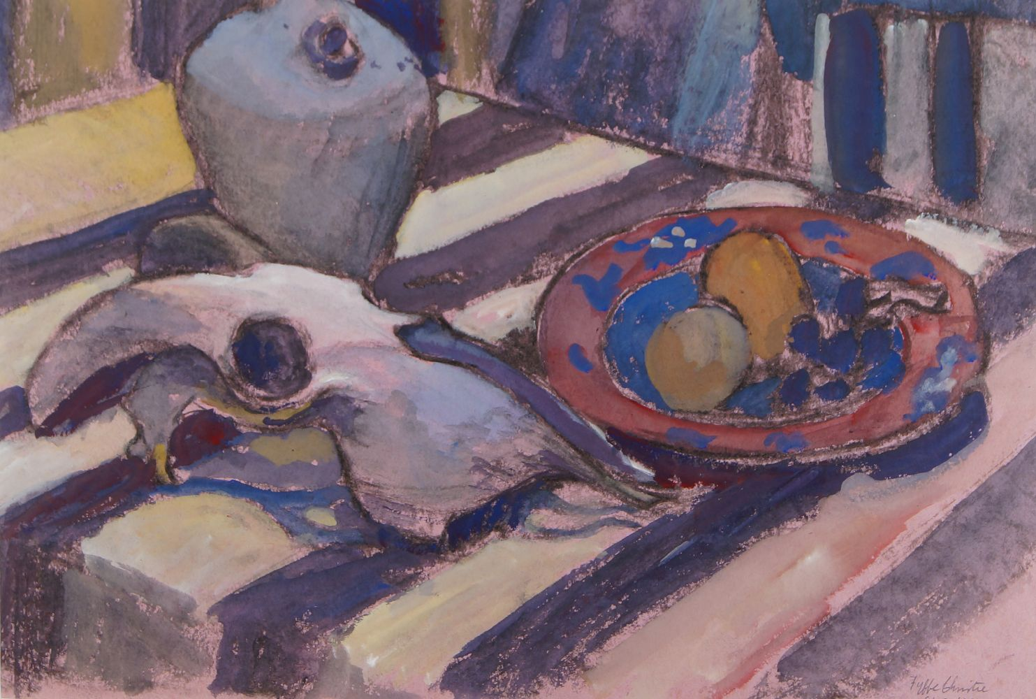 Fyffe Christie, British 1918-1979- Table top with conch shell, horn and fruit; watercolour, signed