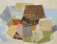Bryan Ingham, British 1936-1997- Abstract composition; oil on board, signed with initials, 41x53.