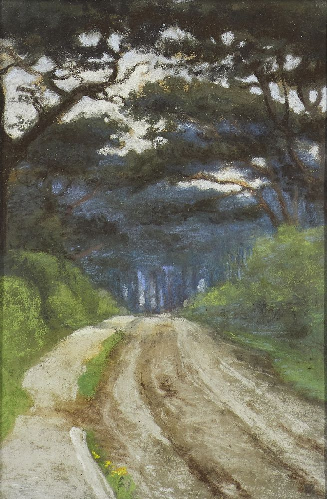 Berthe Des Clayes, British/Canadian 1890-1968- Strawberry Woods, Clevedon, Somerset; pastel on