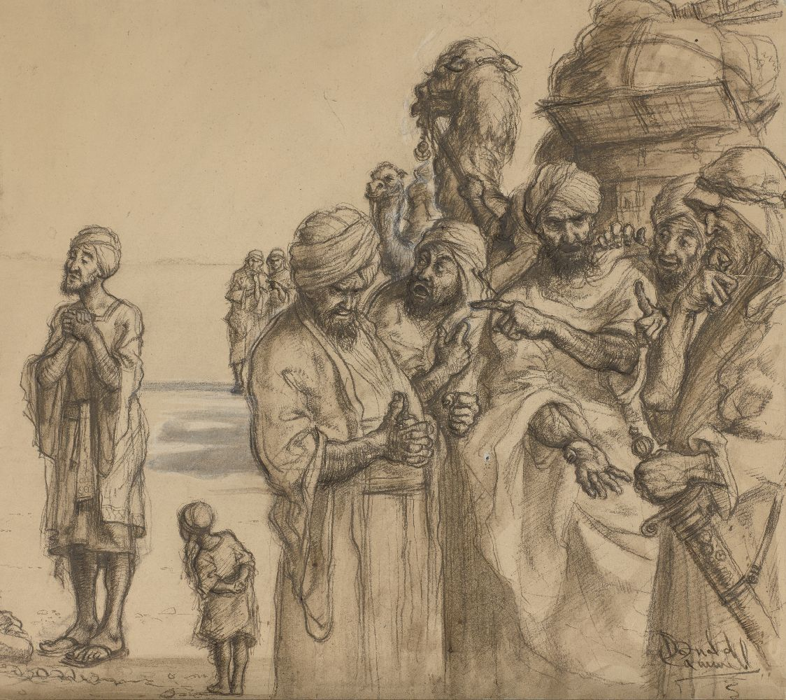 Donald Cammell, Scottish 1934-1996- Men in discussion in a desert; pen and black ink, charcoal and
