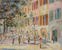 J. Heckermoon, European School, mid 20th century- Venetian canal scene and A street view in