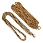 Two late 19th century gold chains, comprising: a curb link watch chain with clip terminal, 42.4g,