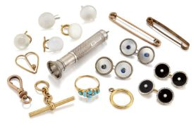 A small group of jewellery, cufflinks and other items, comprising: a late 19th century gold and