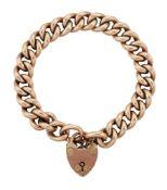 A bracelet, of curb link design with 9ct gold padlock clasp, padlock with Birmingham hallmarks