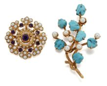 Two gem brooches. comprising: a tumble polished turquoise and cultured pearl foliate spray, length