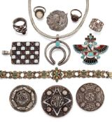 A group of silver and various other jewellery, including: a 19th century Austro Hungarian silver
