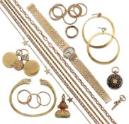 A group of 9ct gold and other jewellery, comprising: a lady's 9ct gold bracelet watch by Beuche-