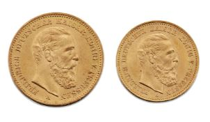Two gold coins, comprising: a German 20 mark, 1888; and a German 10 mark, 1888 (2)Please refer to