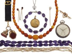 A silver and enamel pocket watch by Cyma and a small group of jewellery, comprising: the keyless