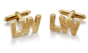 A pair of cufflinks, modelled as textured 'LW' monograms to hinged bar fittings, width 2.