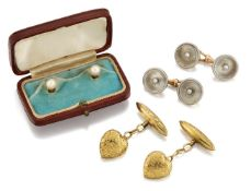 A small group of accessories, comprising: a pair of early 20th century mother-of-pearl and seed