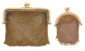 Two early 20th century gold mesh coin purses, one with rounded rectangular frame, the other with