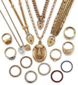 A collection of jewellery and costume jewellery, including: an 18ct gold diamond single stone