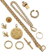 A group of miscellaneous 18ct gold jewellery, comprising: an 18ct gold circular zodiac pendant, 17.