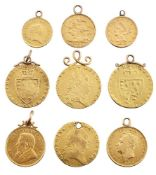 A group of nine pendant mounted gold coins, comprising: four George III spade guineas, 1793, 1797,