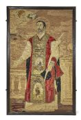 A Continental tapestry panel of a saint, probably Saint Ignatius, late 18th/early 19th century, with