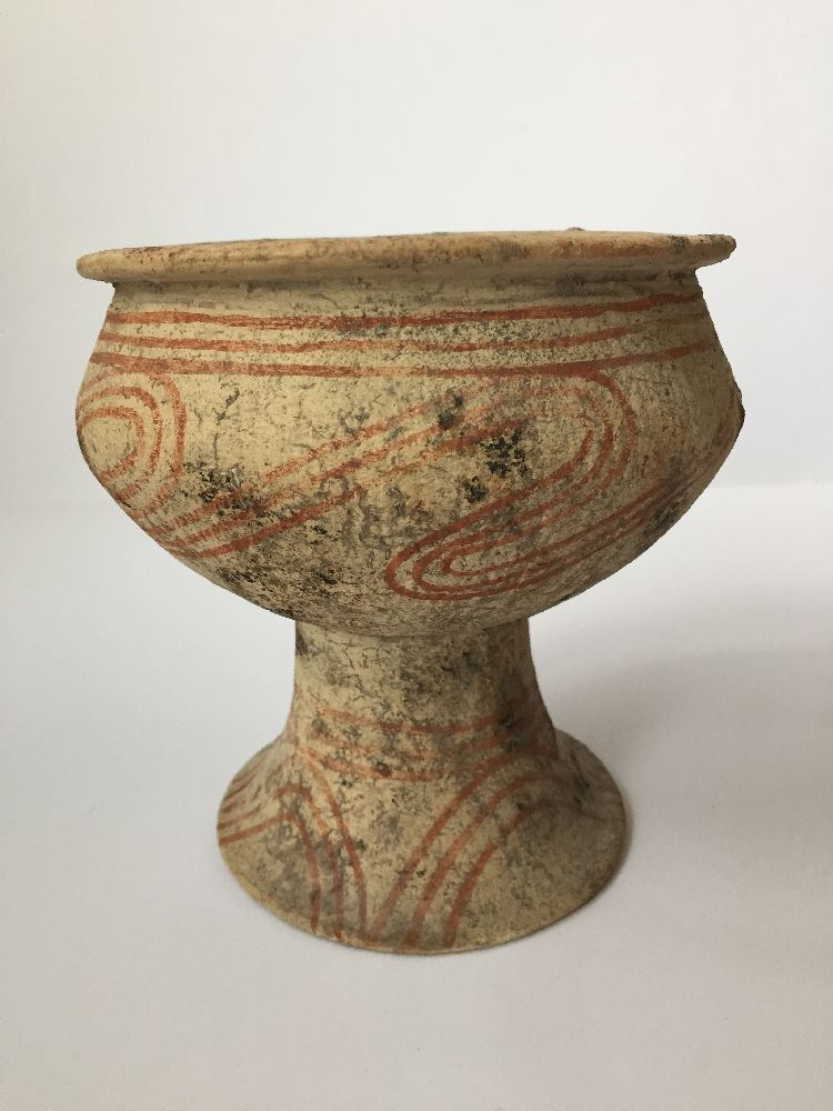 A Thai clay Ban Chiang-type stem bowl, early 20th century, with broad mouth, bulbous body and flared - Image 2 of 7