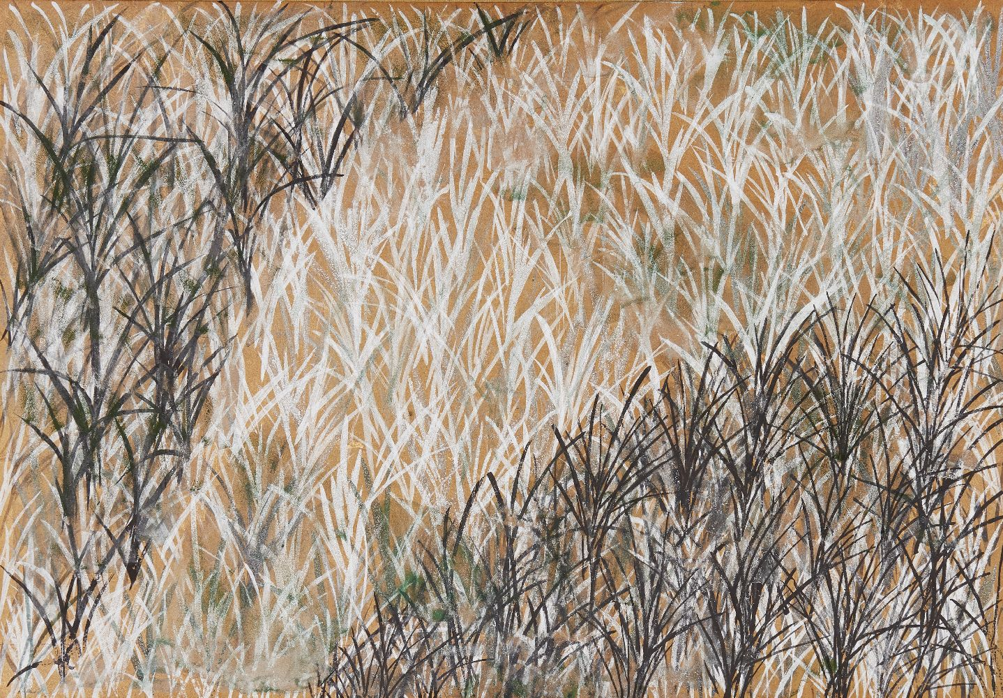 A Japanese painting of seagrass, 20th century, ink and colour on paper, mounted in brocade screen - Image 2 of 3