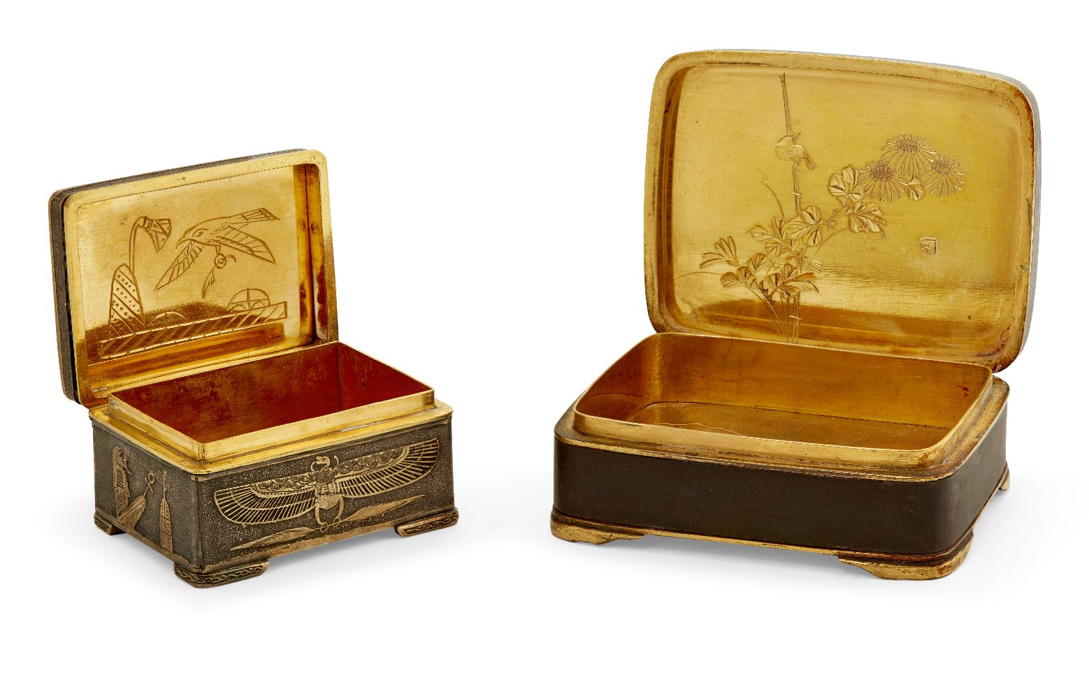 Two Komai style small pill boxes, late 19th early 20th century, one decorated with bamboo to - Image 5 of 12