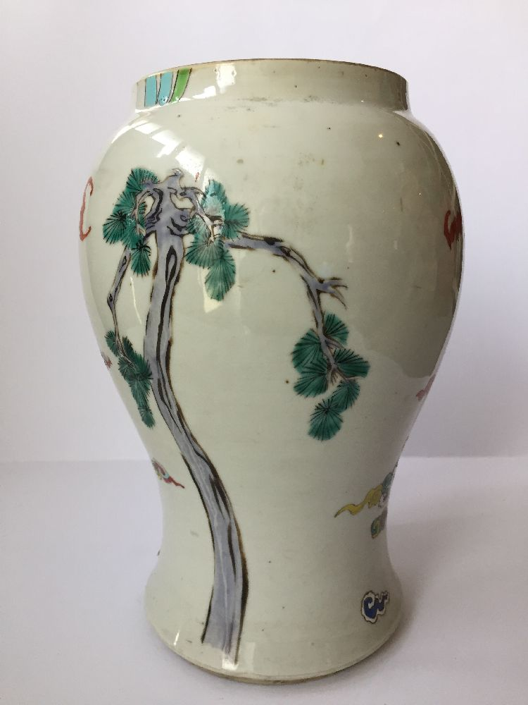 A pair of Chinese porcelain vases, Yongzheng period, painted in famille rose enamels with five of - Image 12 of 14